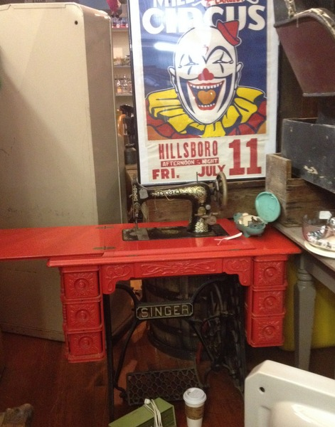 Red Painted Treadle Sewing Machine
