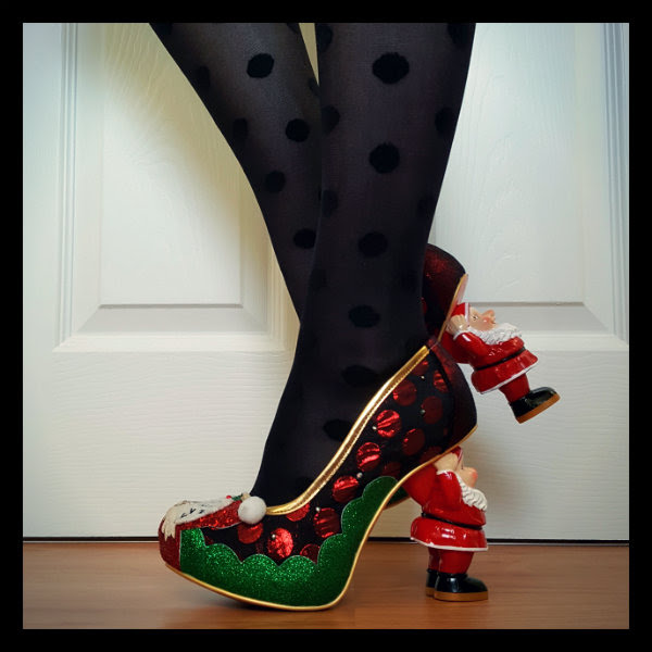 side view of Christmas Irregular Choice shoes with green glitter and large polka dot uppers and Santa heels