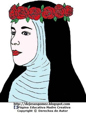 Dibujo de Santa Rosa de Lima de perfil