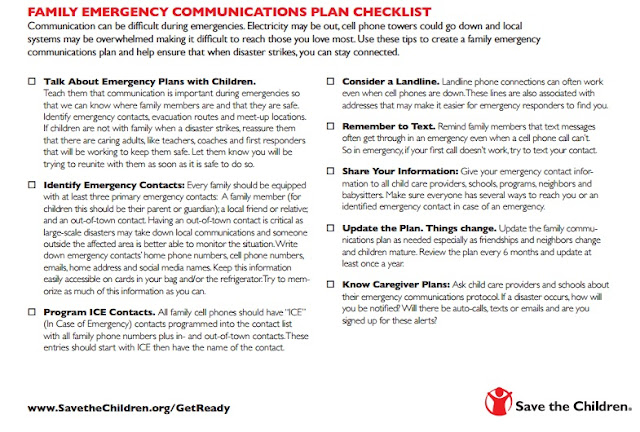 Emergency communications checklist