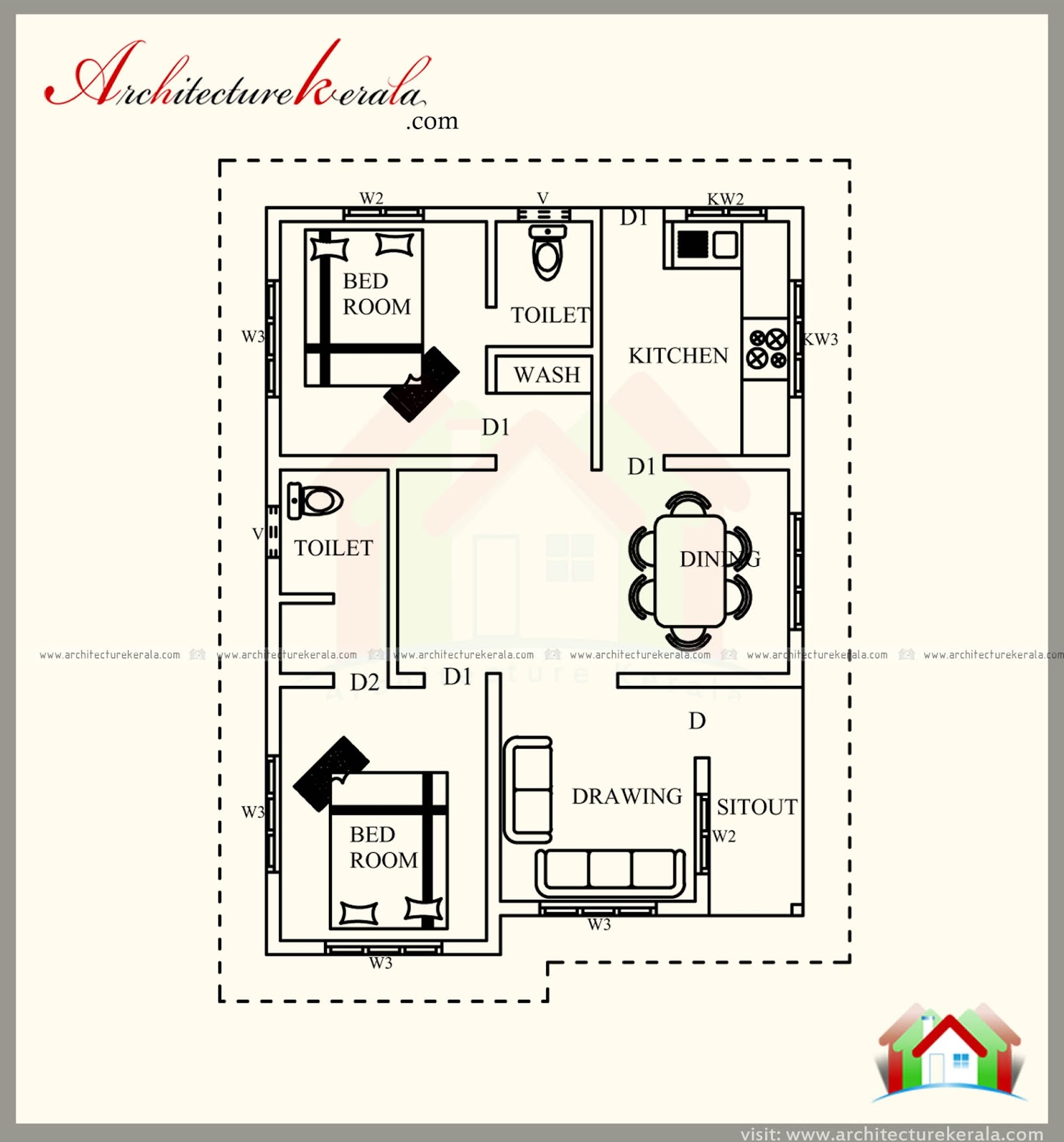 700 Square Feet Contemporary House Plan With Beautiful