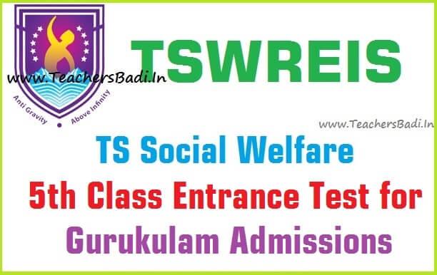 TS Social welfare,5th Class entrance test,tswreis gurukulam admissions