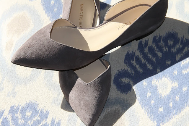 grey, suede, pointed toe flats