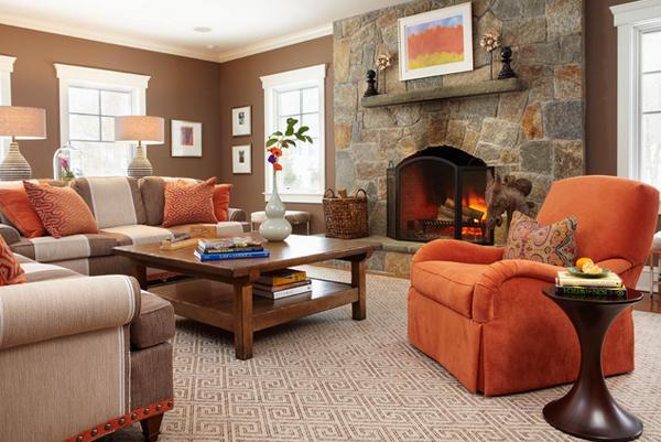 Ruang tamu cantik bertema orange, kursi orange
