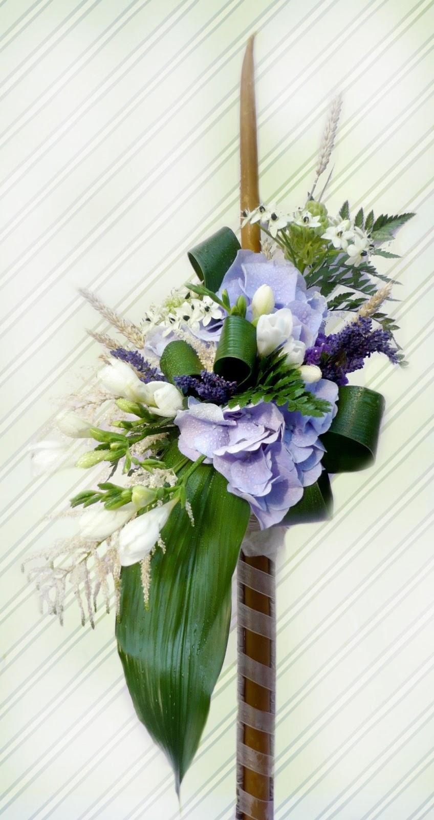 Lumanare De Botez Din Ceara Naturala Retro Flower Aranjamente