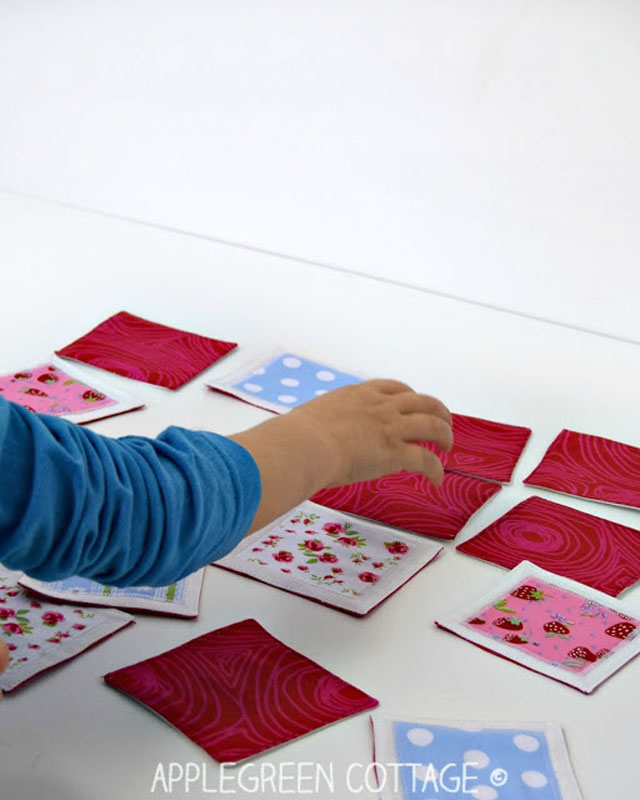 Learn how to make a memory game using small scraps of fabric. Tutorial by Apple Green Cottage