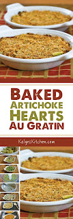 Baked Artichoke Hearts Au Gratin with Green Onion, Parmesan, and Romano found on KalynsKitchen.com