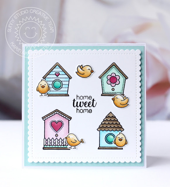 Sunny Studio Stamps: A Bird's Life Grid Design Birdhouse Card by Karin Akesdotter