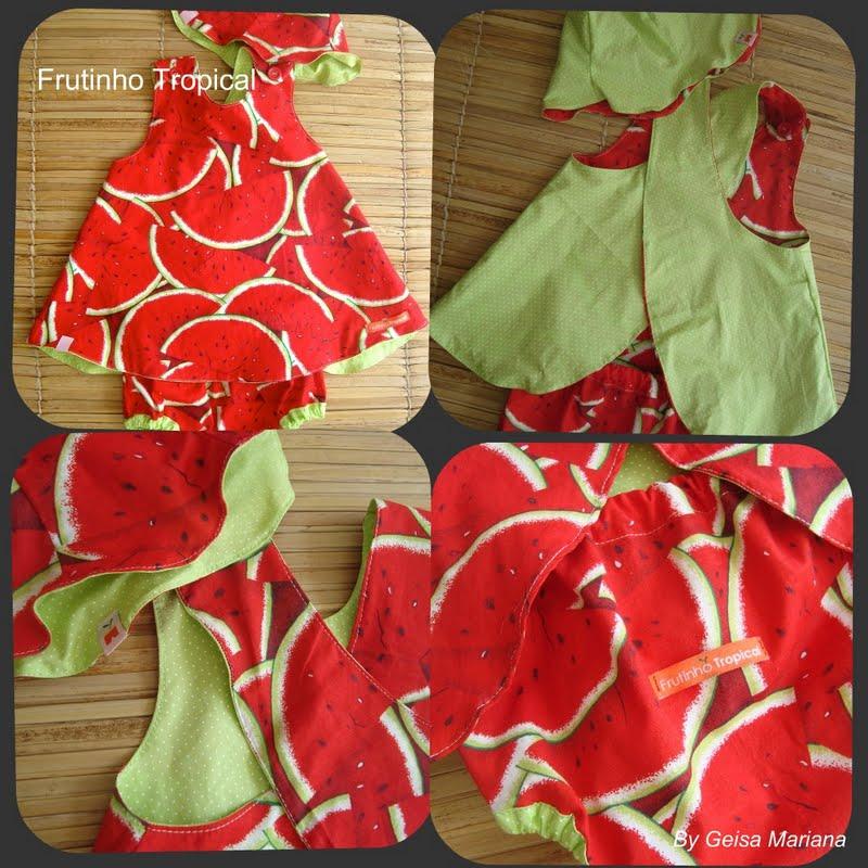 b158c7dd32c5 Fruto Tropical: Vestido Melancia dupla face