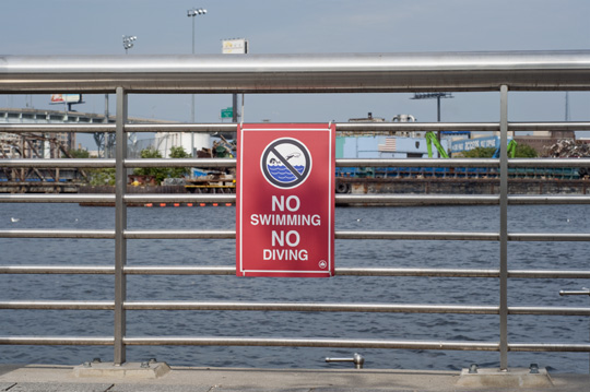 No swimming sign at Newtown Creek Nature Walk