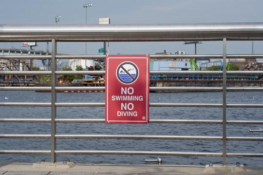 No swimming sign at Newtown Creek Nature Walk