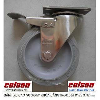 Bánh xe cao su có khóa càng inox 304 Colson phi 125 | 2-5456-444-BRK4 www.banhxepu.net