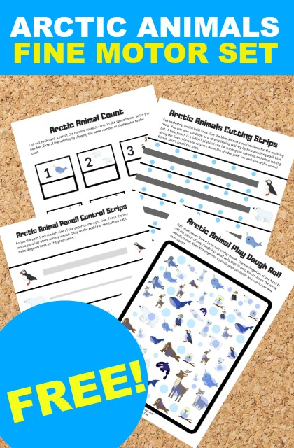 Arctic animals worksheets for working on fine motor skills with kids this winter.