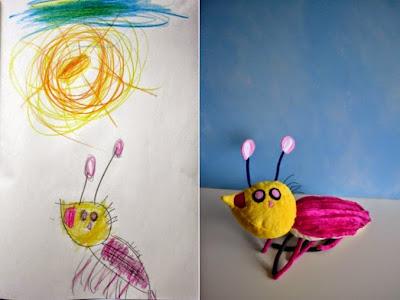 Dibujo de niño convertido en peluche