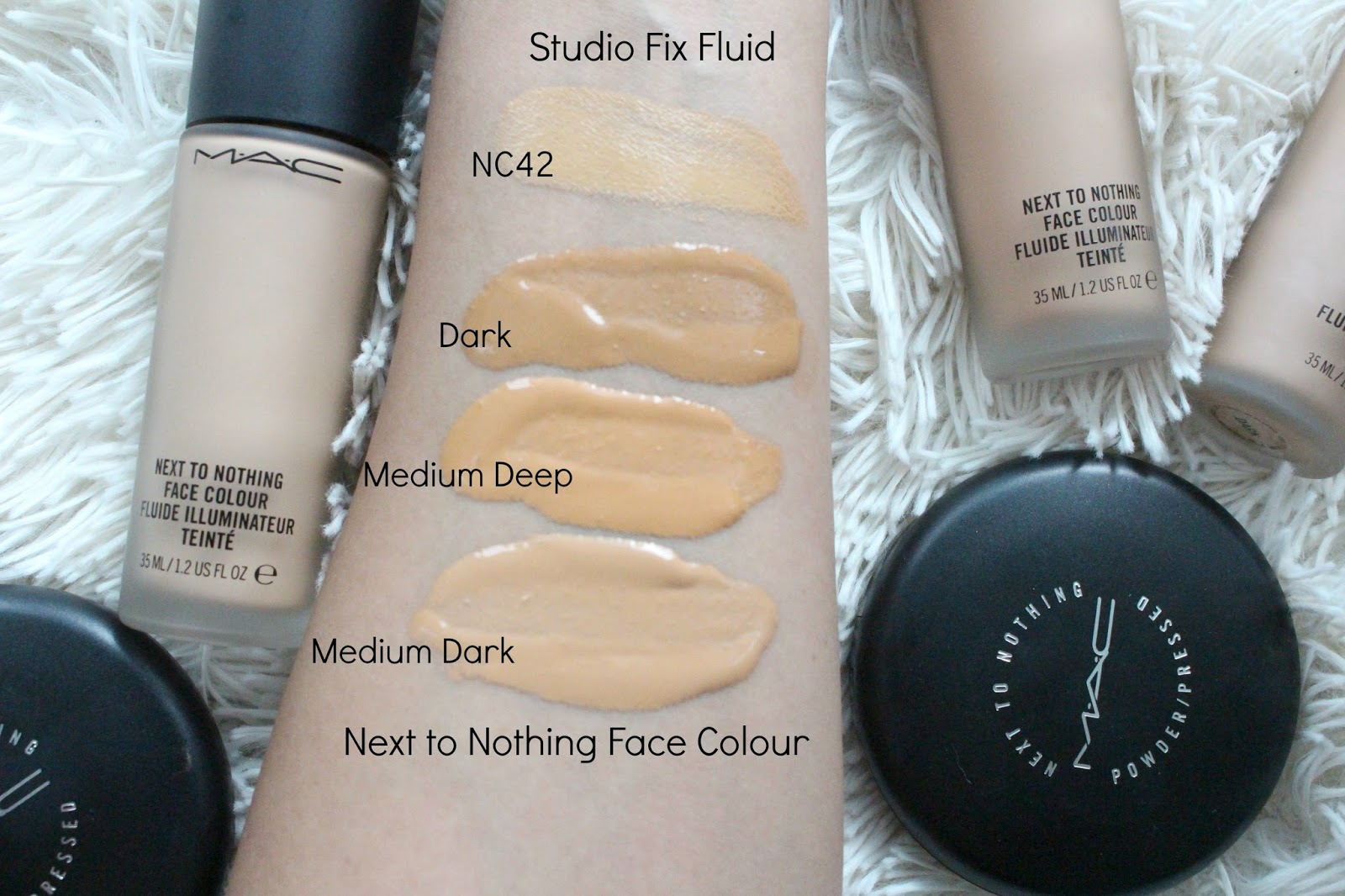 mac next to nothing face color vs studio fix fluid