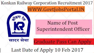 Konkan Railway Corporation Recruitment 2017-Superintendent Officer