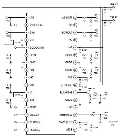 Simple 4 Channel Video Amplifier using NJM2582 Circuit Diagram