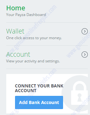 Adding banking account on Payza India