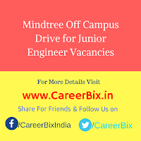 Mindtree Off Campus Drive for Junior Engineer Vacancies