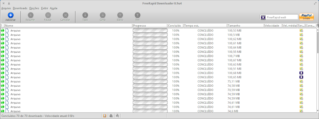 Interface Gráfica do Gerenciador de Downloads FreeRapid