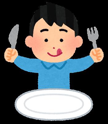 ナイフとフォークで食事をする人のイラスト(男性)