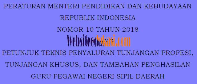 Permendikbud No 10 Tahun 2018 Tentang Juknis Tunjangan Guru PNS Daerah