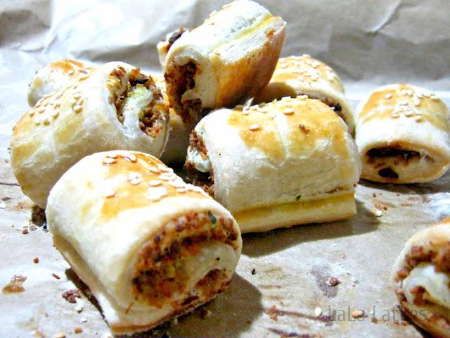 рецепт слоеных пирожков с мясом