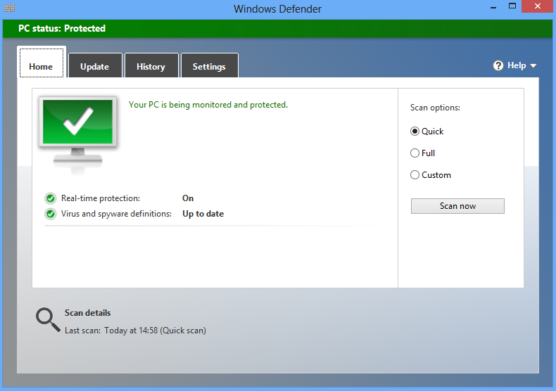 Antivirus Windows Defender pada WIndows 8 dan 8.1
