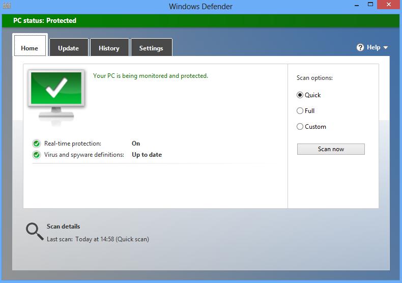 Antivirus Windows Defender pada WIndows 8 dan 8.1