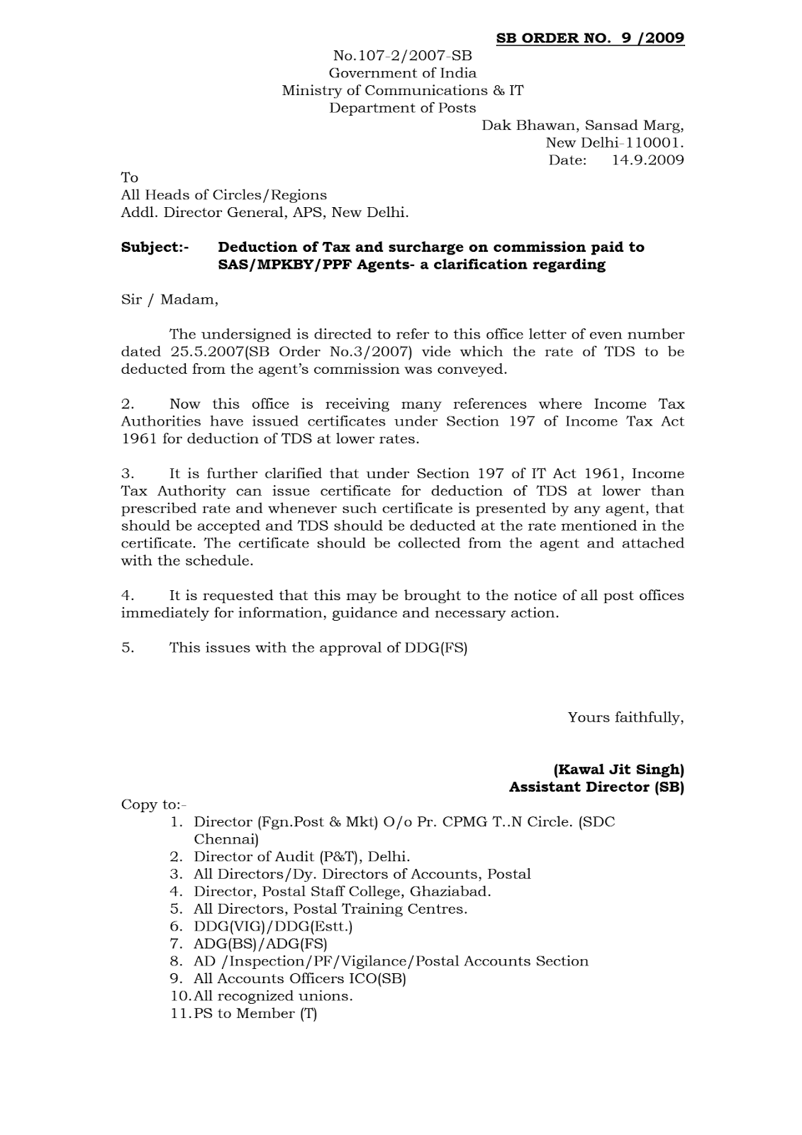 Dop Orders Deduction Of Tax And Surcharge On Commission Paid To
