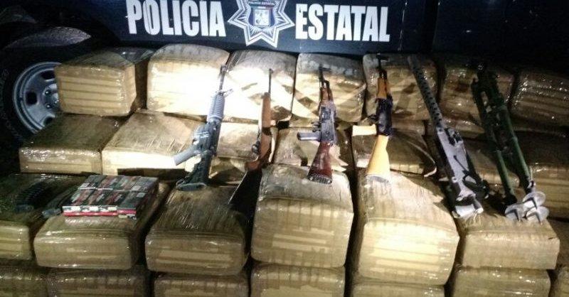 Aseguran PESP y SEDENA armas y 820 kilos de droga