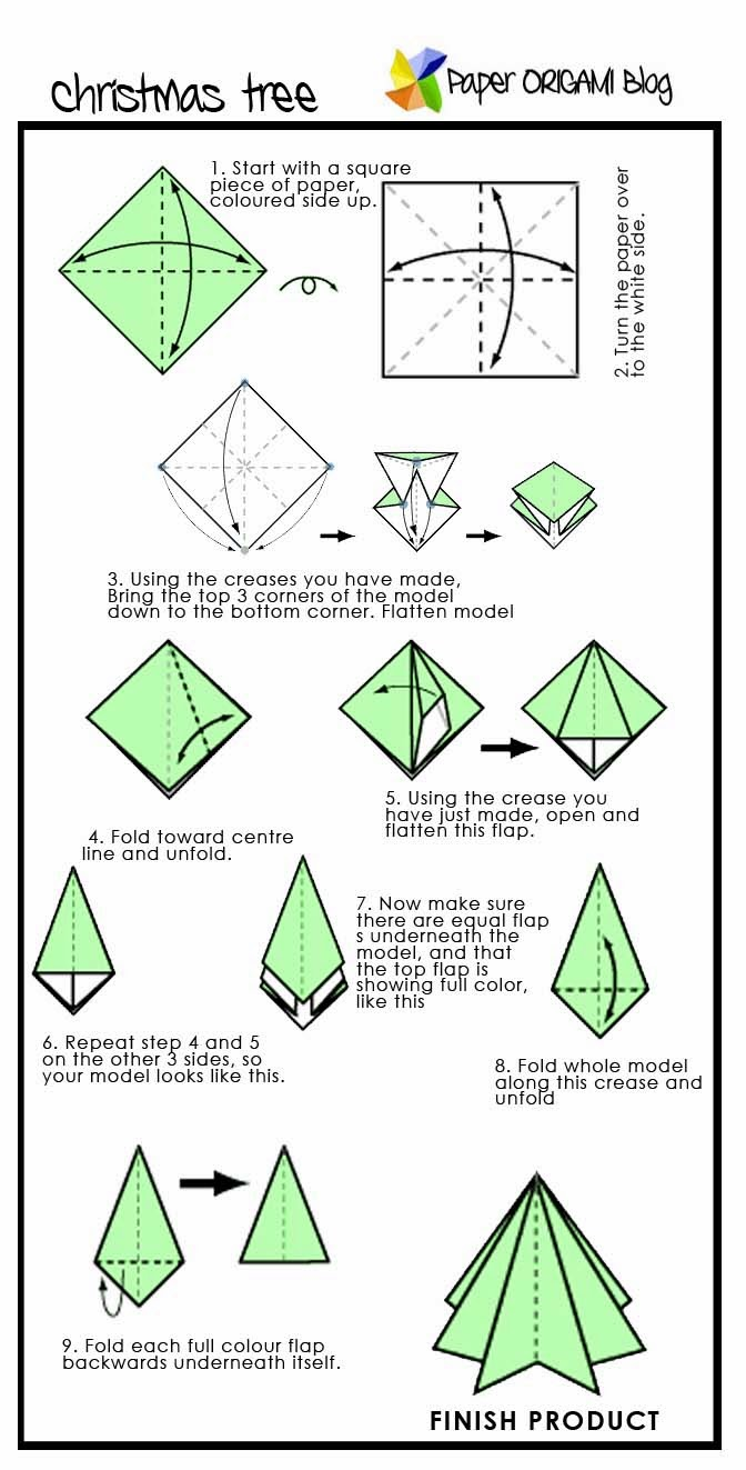 Christmas Origami: Pine Tree | Paper Origami Guide - photo#24