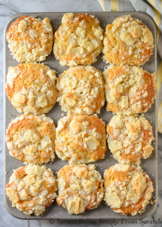Peach Crumb Muffins are soft tender cake like muffins with a coffee cake style crumb filled with plenty of peaches from Serena Bakes Simply From Scratch.