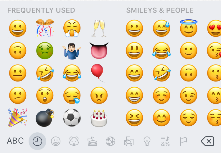 iPhone default emoji keyboard