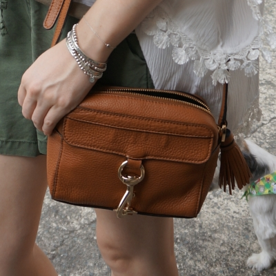 olive shorts, tan Rebecca Minkoff MAB Camera Bag in almond | away from the blue