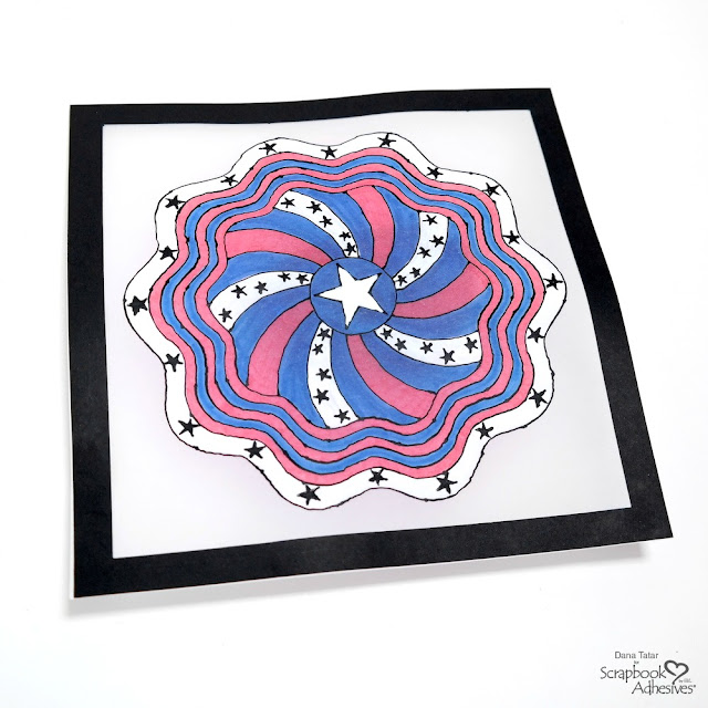 Red White and Blue Black Glue Patriotic Mandala Artwork on Vellum