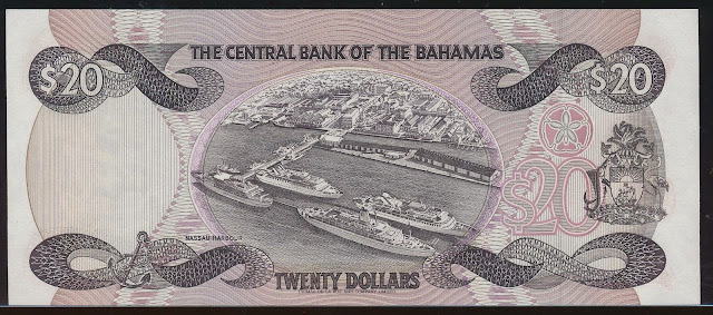 Bahamas money currency 20 Dollars banknote 1984 Cruise Ships