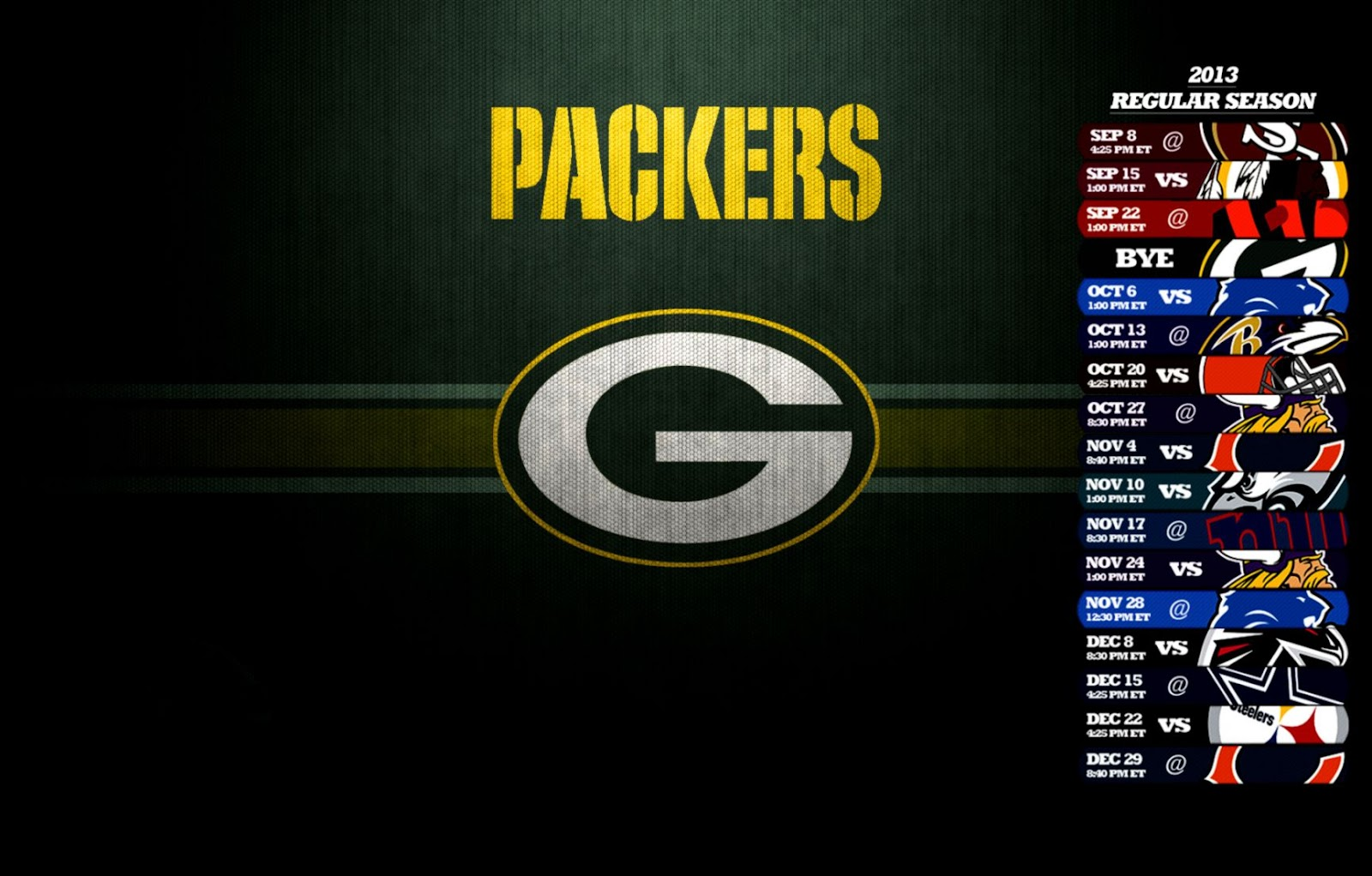 Green Bay Packers Schedule View Wallpapers