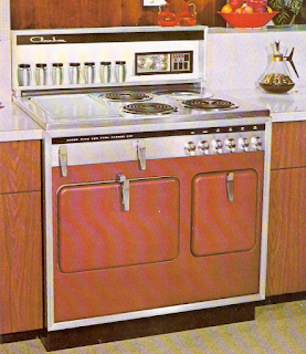 Photo of a copper colored vintage Chambers stove model D.