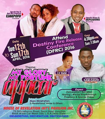 Delta are u ready for DFRC's MY GLORY MY FORTUNE APPEAR Prophetic encounter