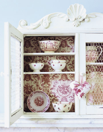 Maison Decor: French Wallpaper for My Cabinet