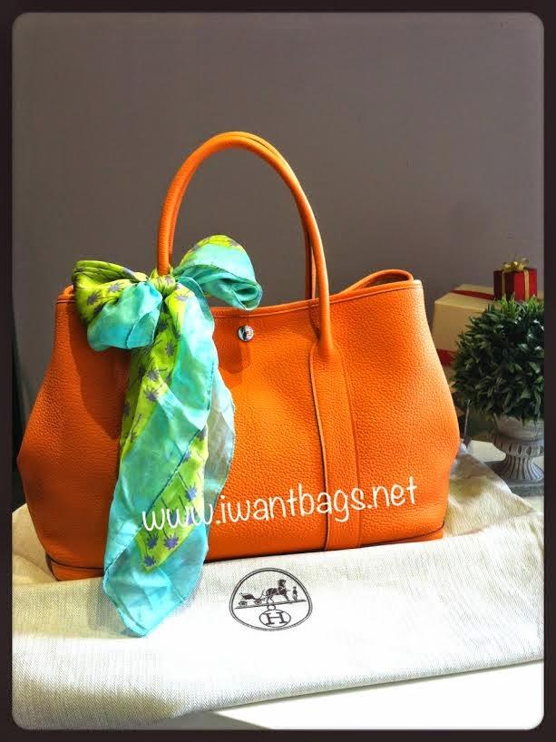 hermes garden party full leather orange. Black Bedroom Furniture Sets. Home Design Ideas