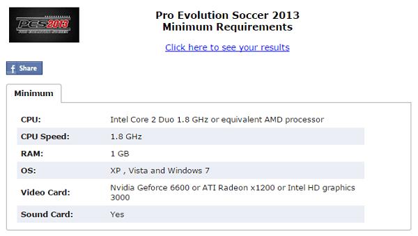 contoh spesifikasi game PES 2013