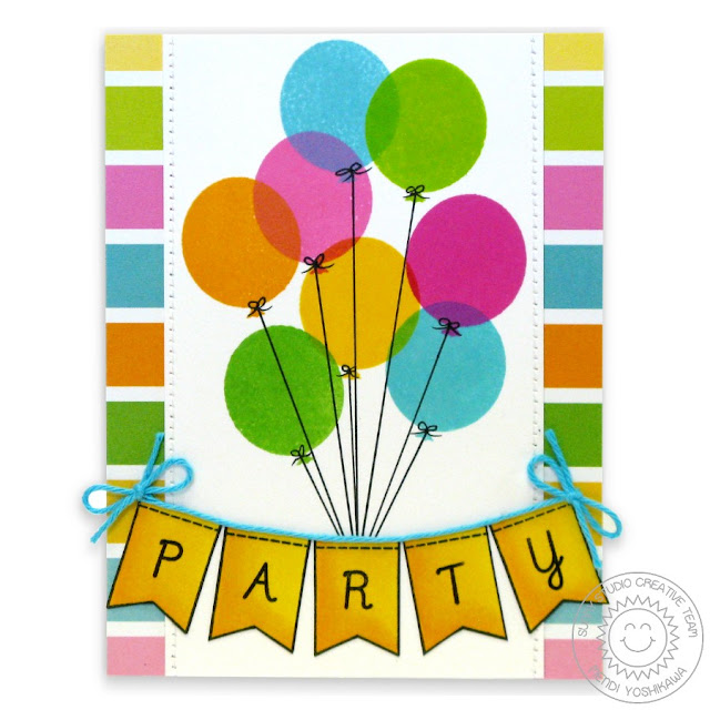 Sunny Studio Stamps: Birthday Smiles Balloons Birthday Party Banner Card by Mendi Yoshikawa