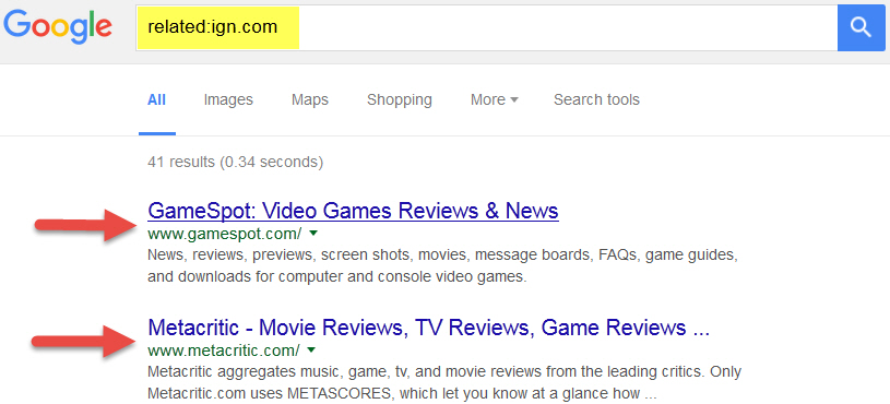 Find similar websites by google search