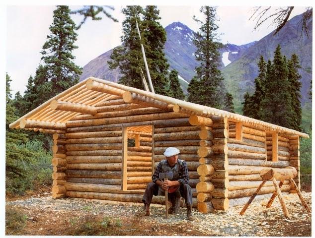 Dick Proenneke durante uma pausa nos trabalhos da construção da sua cabana de troncos.