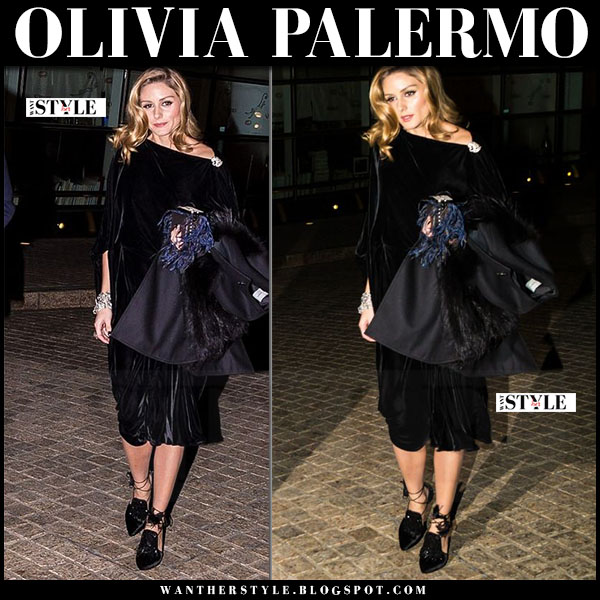 Olivia Palermo in velvet midi dress and black lace up tassel pumps sanayi 313 what she wore