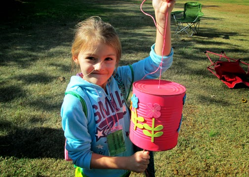 The fall camporee was jammed packed with fun activities. Tessa crafted this dinner bell, assembled SWAPS, took a nature hike, roasted marshmallows and even created a little STEM car for a derby.