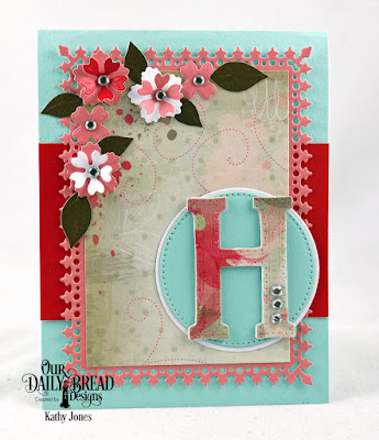Our Daily Bread Designs Custom Dies: Letter H, Bitty Blossoms, Double Stitched Circles, Circles, Lavish Layers, Paper Collection: Beautiful Blooms