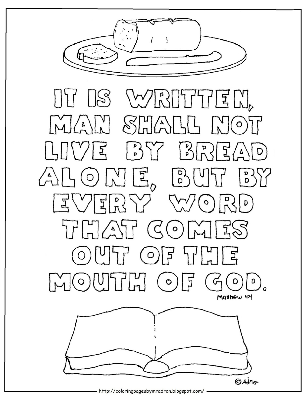 coloring pages for kids by mr adron man shall not live by bread